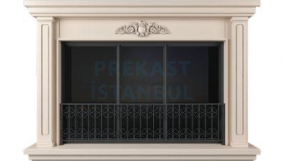 prekast beton panel geniş pencere üst süslemeli