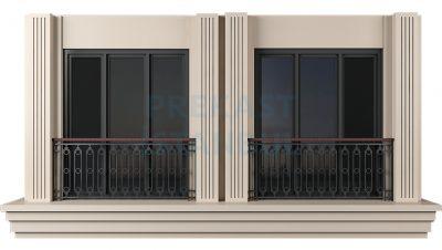 yan yana çift pencereli sade prekast fransız panel