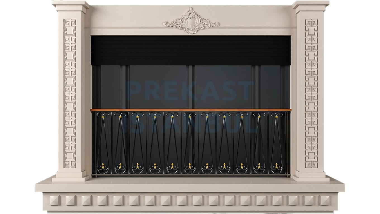 prekast panel kolon süslemeli balkonlu