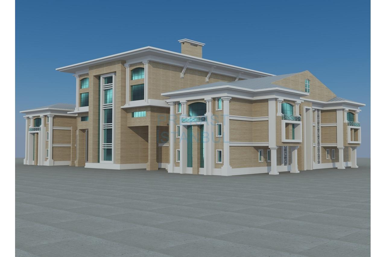 kültür merkezi prekast 3d tasarım görselleştirme