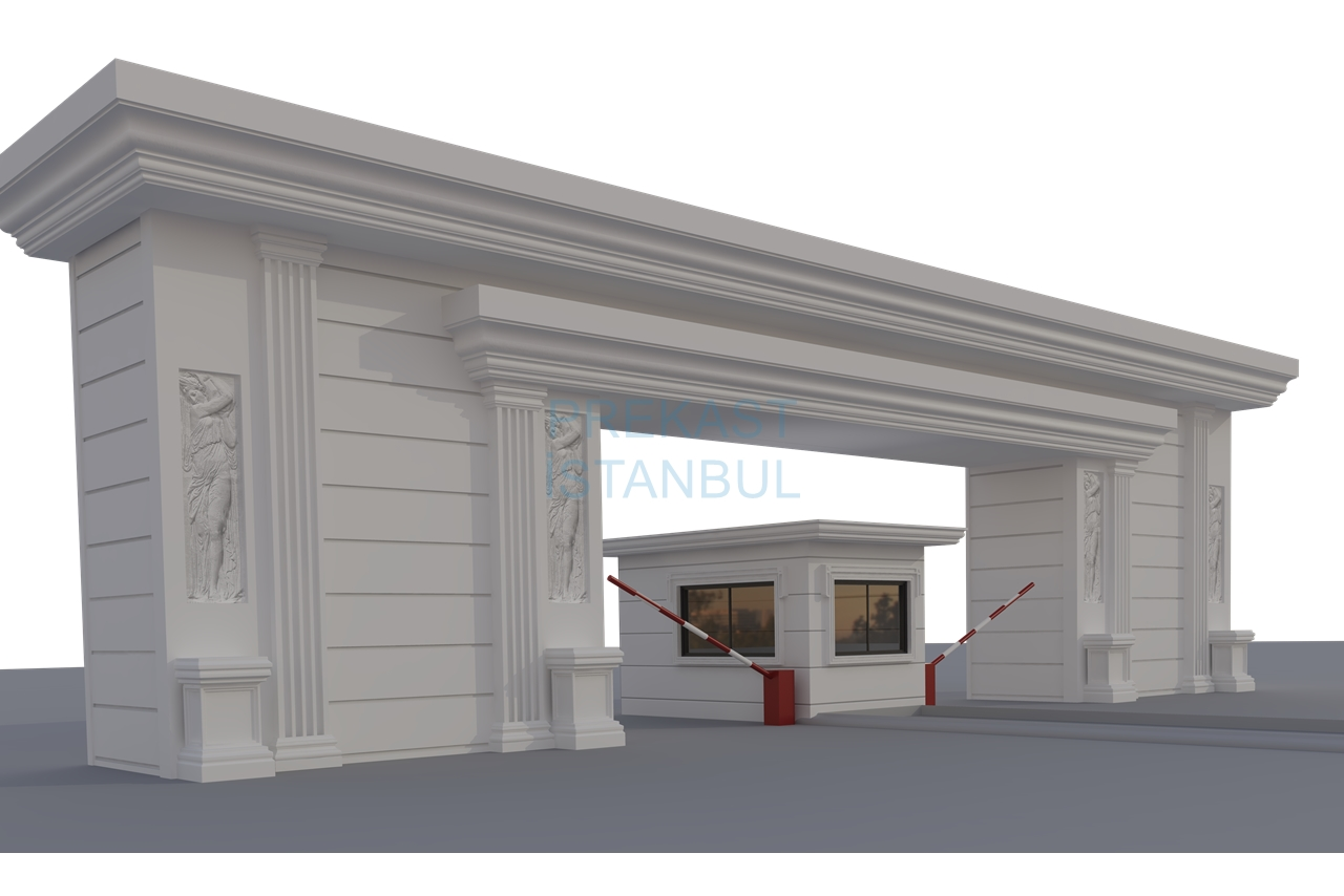 site girişi bina giriş prekast tasarım 3d görselleştirme